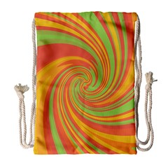 Green and orange twist Drawstring Bag (Large)