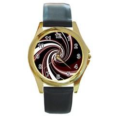 Decorative twist Round Gold Metal Watch