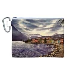Italian Lake Garda Canvas Cosmetic Bag (L)
