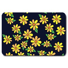 Daisy Flower Pattern For Summer Large Doormat