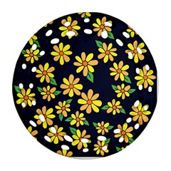 Daisy Flower Pattern For Summer Round Filigree Ornament (2side)