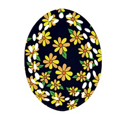 Daisy Flower Pattern For Summer Oval Filigree Ornament (2-Side)