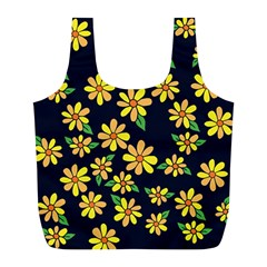Daisy Flower Pattern For Summer Full Print Recycle Bags (l)