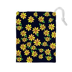 Daisy Flower Pattern For Summer Drawstring Pouches (large)
