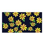 Daisy Flower Pattern For Summer Satin Shawl Front