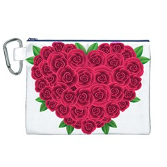 Floral Heart Canvas Cosmetic Bag (XL)