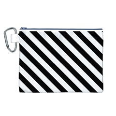 Black And White Geometric Line Pattern Canvas Cosmetic Bag (L)