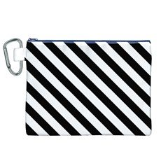 Black And White Geometric Line Pattern Canvas Cosmetic Bag (XL)