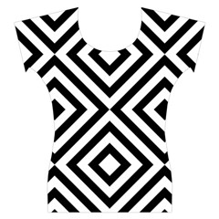 Black And White Geometric Line Pattern Women s Cap Sleeve Top