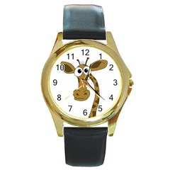 Giraffe  Round Gold Metal Watch