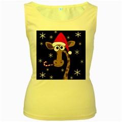 Christmas giraffe Women s Yellow Tank Top