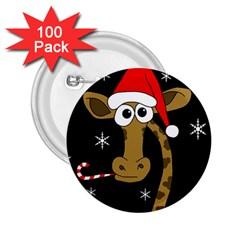 Christmas giraffe 2.25  Buttons (100 pack)