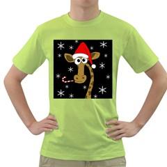 Christmas giraffe Green T-Shirt