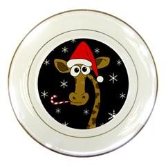 Christmas giraffe Porcelain Plates