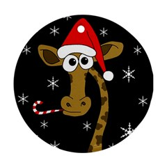 Christmas giraffe Round Ornament (Two Sides)