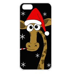 Christmas giraffe Apple iPhone 5 Seamless Case (White)