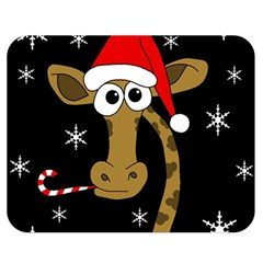 Christmas giraffe Double Sided Flano Blanket (Medium)