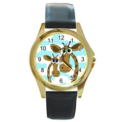 Just the two of us Round Gold Metal Watch