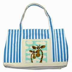 Just the two of us Striped Blue Tote Bag