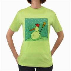 Snowman Women s Green T-Shirt