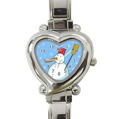 Snowman Heart Italian Charm Watch