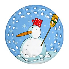 Snowman Round Filigree Ornament (2Side)