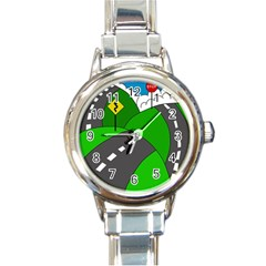 Hit the road Round Italian Charm Watch