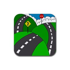 Hit the road Rubber Square Coaster (4 pack)