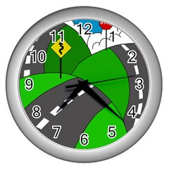 Hit the road Wall Clocks (Silver)
