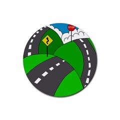 Hit the road Rubber Round Coaster (4 pack)