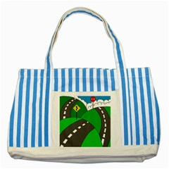 Hit the road Striped Blue Tote Bag