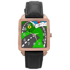 Hit the road Rose Gold Leather Watch