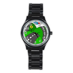 Hit the road Stainless Steel Round Watch