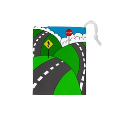 Hit the road Drawstring Pouches (Small)