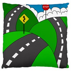 Hit the road Large Flano Cushion Case (One Side)