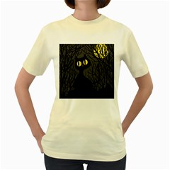 Black cat - Halloween Women s Yellow T-Shirt