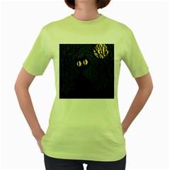 Black cat - Halloween Women s Green T-Shirt