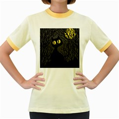 Black cat - Halloween Women s Fitted Ringer T-Shirts