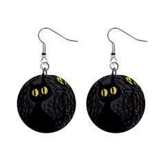 Black cat - Halloween Mini Button Earrings