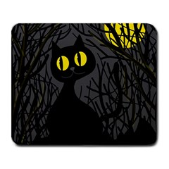 Black cat - Halloween Large Mousepads
