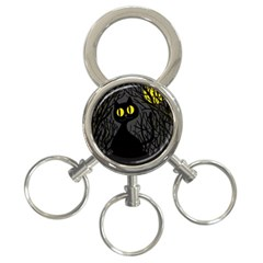 Black cat - Halloween 3-Ring Key Chains