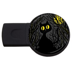 Black cat - Halloween USB Flash Drive Round (2 GB)