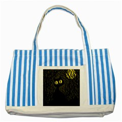 Black cat - Halloween Striped Blue Tote Bag
