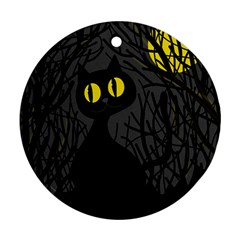 Black cat - Halloween Round Ornament (Two Sides)