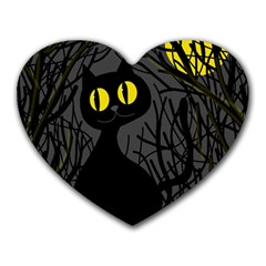 Black cat - Halloween Heart Mousepads