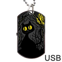 Black cat - Halloween Dog Tag USB Flash (One Side)