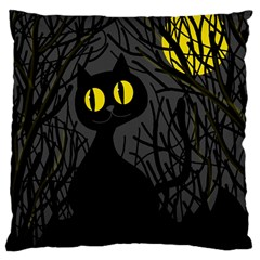 Black cat - Halloween Large Flano Cushion Case (One Side)
