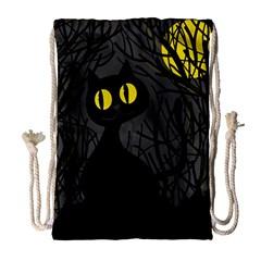 Black cat - Halloween Drawstring Bag (Large)