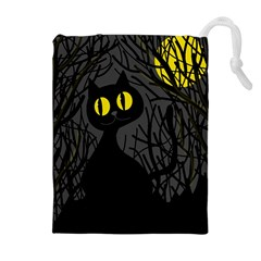 Black cat - Halloween Drawstring Pouches (Extra Large)