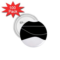 Black and white 1.75  Buttons (100 pack)